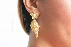 Asopalav Golden Leaf Earrings