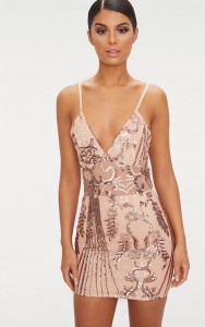 Sukienka Kwiat Orientu - Bodycon - Rose Gold